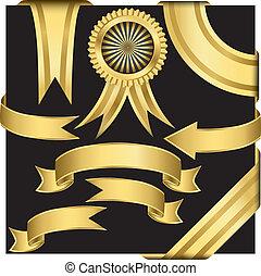 set, gouden, vector, linten