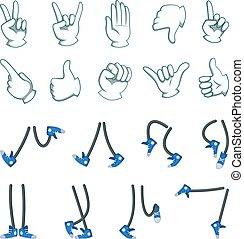 set, grande, collezione, cartone animato, vettore, legs., mani, animazione