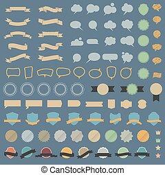 set, grande, colori, elementi, disegno, retro, discorso, bubblesin