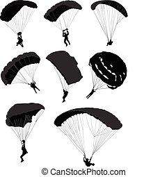 set, grande, paracadutisti, volo