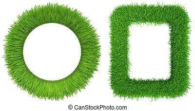 Set grass frame isolated on white background. 3d rendering