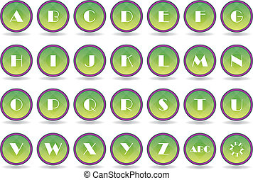 Set green alphabet icons