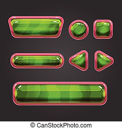 Set green button in cartoon style