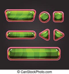 Set green button in cartoon style