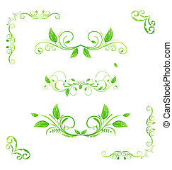 Set green floral elements with eco leaves isolated (2) -...