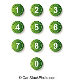 Set green number button icon with shadow