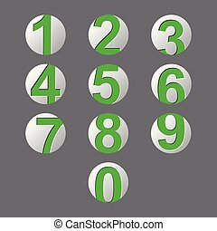set green number icon with shadow
