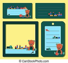 set green tags, with a teddy bear in green clothes and toys for the boy and girl. for social media frame notes