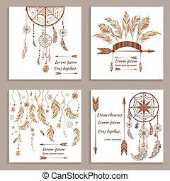 Set greeting cards ethnic style. Dream Catcher, arrows, feathers, beads, buffalo headdress