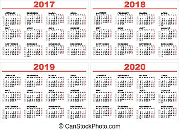 Set grid wall calendar for 2017, 2018, 2019, 2020....