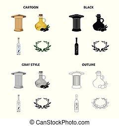 set, griekenland, laurier, stijl, oud, iconen, ouzo, black , liggen, drank, symbool, web., illustratie, monochroom, wreath., olive, spotprent, zuil, schets, olie, griekse , vector, verzameling