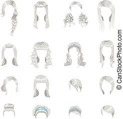 set, grigio, donne, sedici, acconciature, differente