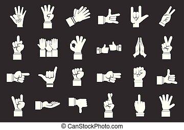 set, grigio, mano, vettore, segno, icona