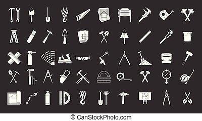 set, grijze , vector, bouwsector, gereedschap, pictogram