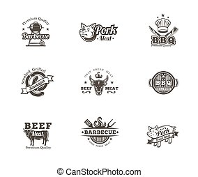 Set grill and barbecue badges, stickers, emblems