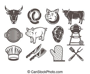 Set grill and barbecue icons