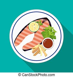 Set Grilled Salmon steak with lemon