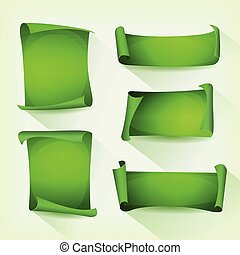 set, groene, perkament, boekrol