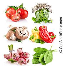 set, groente, met, brink loof