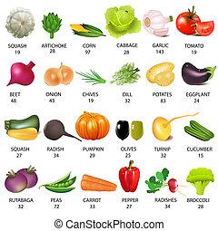 set, groente, met, calorieën, op wit