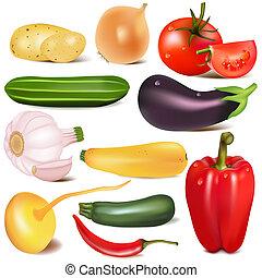 set, groente, met, joint, door, raap, aubergine