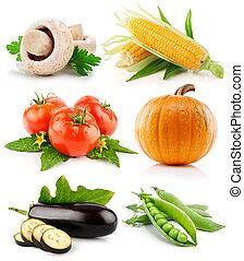 set, groente, vruchten, vrijstaand, op wit