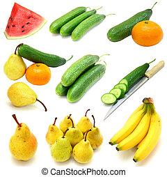 set, groentes, vrijstaand, achtergrond, vruchten, witte