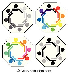 set, groep, mensen, team, eenheid, concept, team, pictogram