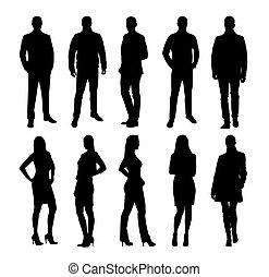 set, groep, women., zakenlui, mannen, silhouettes, vector