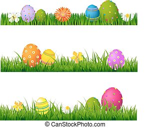 set, groot, eitjes, gras, groene, bloemen, pasen