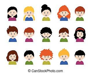 set, groot, gezichten, meiden, emoties, jongens, geitjes, gevarieerd, avatars, spotprent