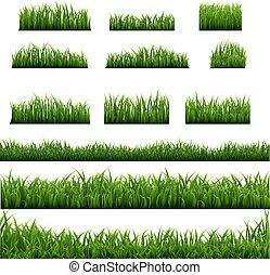 set, groot, groene achtergrond, randjes, gras