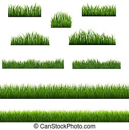 set, groot, groene achtergrond, randjes, gras, witte