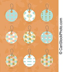 Set, group, collection of nine, round, isolated hanging tags, stickers with simple, romantic, seamless pattern, retro design, orange background - grunge