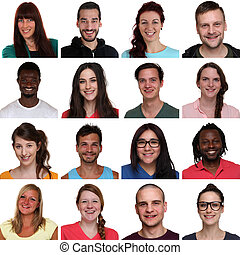 Set group portrait of multiracial young smiling people ...