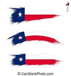 set, grunge, 3, bandiera, ci, stato, textured, texas