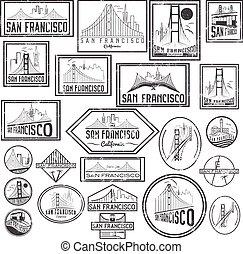 Set grunge badges with San Francisco skyline. Vector