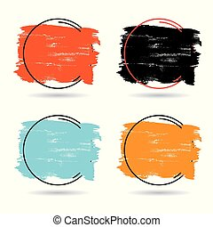 Set grunge brush paint texture design acrylic stroke poster over frame vector. Perfect design for headline, logo and banner.