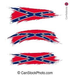 set, grunge, confederato, 3, bandiera, textured