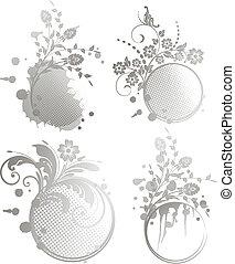 set Grunge floral frame