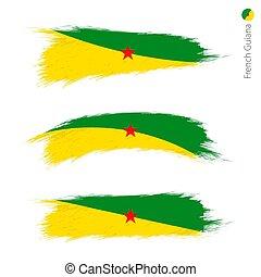 set, grunge, guiana, 3, frans vlag, textured