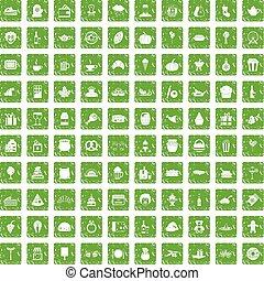 set, grunge, iconen, groene, bounty, honderd