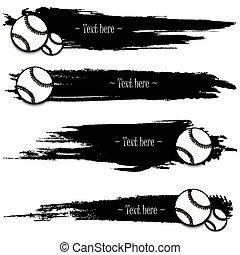 set, grunge, mano, baseball, disegnato, bandiere
