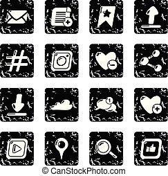 set, grunge, netwerk, iconen, vector, sociaal