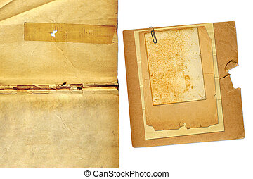 Set grunge old papers design in scrapbooking style on isolated background
