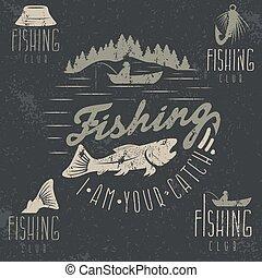 set, grunge, ouderwetse , etiketten, thema, visserij
