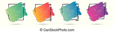 Set grunge paint texture design acrylic over frame. Perfect design for headline, logo, poster and banner. Vector