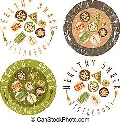 set, grunge, restaurant, gezonde , etiketten, voedingsmiddelen, vector