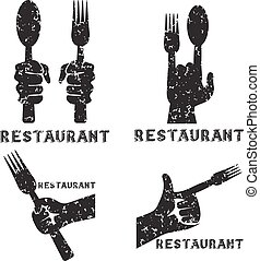 set, grunge, ristorante, vendemmia, emblemi, vettore, mani