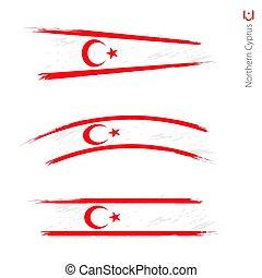 set, grunge, settentrionale, 3, bandiera, textured, cipro